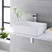 Milano Westby - White Modern Rectangular Countertop Basin with Deck Mounted High Rise Mixer Tap - 490mm x 390mm (No Tap-Holes)