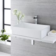 Milano Westby - White Modern Rectangular Countertop Basin with Deck Mounted High Rise Mixer Tap - 610mm x 400mm (No Tap-Holes)