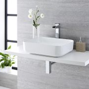 Milano Longton - White Modern Rectangular Countertop Basin with Deck Mounted High Rise Mixer Tap - 500mm x 390mm