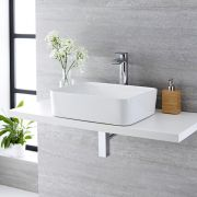 Milano Rivington - White Modern Rectangular Countertop Basin and Deck Mounted High Rise Mixer Tap - 480mm x 370mm (No Tap-Holes)