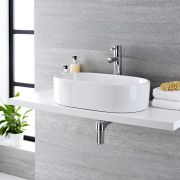 Milano Overton - White Modern Round Countertop Basin with Deck Mounted High Rise Mixer Tap - 560mm x 355mm (No Tap-Holes)