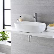 Milano Overton - White Modern Oval Countertop Basin - 590mm x 410mm (No Tap-Holes)