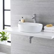 Milano Overton - White Modern Oval Countertop Basin - 480mm x 350mm (No Tap-Holes)