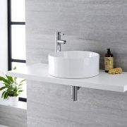 Milano Ballam - White Modern Round Countertop Basin with Deck Mounted High Rise Mixer Tap - 400mm x 400mm