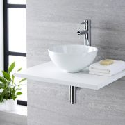Milano Irwell - White Modern Round Countertop Basin with Deck Mounted High Rise Mixer Tap - 320mm x 320mm (No Tap-Holes)
