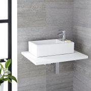 Milano Elswick - White Modern Rectangular Countertop Basin with Mini Mixer Tap - 450mm x 250mm (1 Tap-Hole)