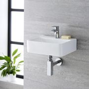 Milano Farrington - White Modern Rectangular Wall Hung Basin - 400mm x 295mm (1 Tap-Hole)
