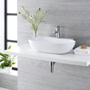 Milano Overton - White Modern Round Countertop Basin with Deck Mounted Mixer Tap - 555mm x 395mm