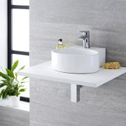 Milano Ballam - White Modern Round Countertop Basin with Deck Mounted Mixer Tap - 350mm x 340mm