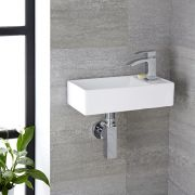 Milano Dalton - White Modern Square Wall Hung Basin - 410mm x 220mm (1 Tap-Hole)