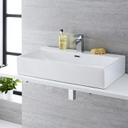Milano Elswick - White Modern Rectangular Countertop Basin with Deck Mounted Mixer Tap - 750mm x 420mm