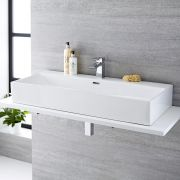 Milano Elswick - White Modern Rectangular Countertop Basin with Deck Mounted Mixer Tap - 1010mm x 425mm