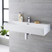 Milano Elswick - White Modern Rectangular Wall Hung Basin - 1010mm x 425mm (1 Tap-Hole)