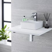Milano Dalton - White Modern Square Countertop Basin with Deck Mounted Mixer Tap - 280mm x 280mm