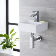 Milano Dalton - White Modern Square Wall Hung Basin - 280mm x 280mm (1 Tap-Hole)