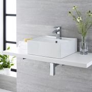Milano Dalton - White Modern Square Countertop Basin with Deck Mounted Mixer Tap - 410mm x 410mm