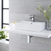 Milano Dalton - White Modern Rectangular Countertop Basin with Deck Mounted Mixer Tap - 550mm x 315mm