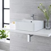 Milano Farrington - White Modern Rectangular Countertop Basin with Deck Mounted Mixer Tap - 460mm x 420mm