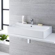 Milano Farrington - White Modern Rectangular Countertop Basin with Deck Mounted Mixer Tap - 800mm x 415mm