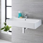Milano Farrington - White Modern Rectangular Wall Hung Basin - 800mm x 415mm (1 Tap-Hole)