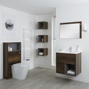 Milano Bexley 600mm Vanity Unit, WC unit, Pan, Single Storage Unit and Mirror - Dark Oak