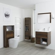 Milano Bexley - Dark Oak Modern 600mm Vanity Unit, WC Unit, Pan, 1500mm Storage Unit and Mirror