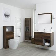 Milano Bexley - Dark Oak Modern 800mm Vanity Unit, WC Unit, Pan, 1500mm Storage Unit and Mirror