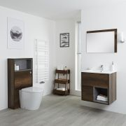 Milano Bexley 600mm Vanity Unit, WC Unit & Back to Wall Pan - Dark Oak