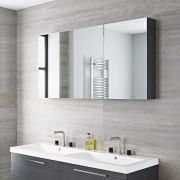 Milano Linley - 3 Door Mirrored Cabinet - Grey