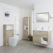 Milano Bexley - Light Oak Modern 800mm Open Shelf Vanity Unit, WC Unit, Pan, Storage Unit and Mirror