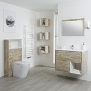 Milano Bexley 800mm Vanity Unit, WC Unit & Back to Wall Pan - Light Oak