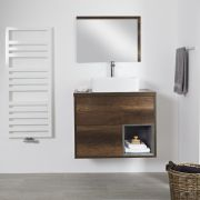 Milano Bexley - 800mm Open Vanity Unit with Rectangular Countertop Basin - Dark Oak