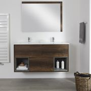 Milano Bexley - Dark Oak 1210mm Wall Hung Open Shelf Vanity Unit with Double Basin