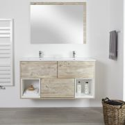 Milano Bexley - Light Oak 1210mm Wall Hung Open Shelf Vanity Unit with Double Basins