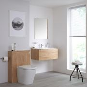Milano Oxley - 800mm Vanity Unit with Basin, WC Unit and Back to Wall Pan - Golden Oak