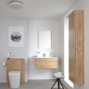Milano Oxley 800mm Vanity Unit with Basin, WC Unit and Back to Wall Pan, Storage Unit and Mirror - Golden Oak