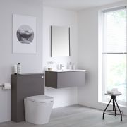 Milano Oxley - Matt Grey Modern 800mm Vanity Unit with Basin, WC Unit, Back to Wall Pan