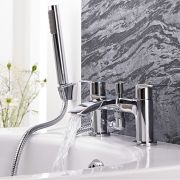Milano Razor - Modern Deck Mounted Bath Shower Mixer Tap with Hand Shower and Hose - Chrome