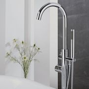 Milano - Modern Floor Standing Thermostatic Bath Shower Mixer Tap including Hand Shower - Chrome