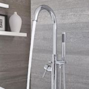 Milano Mirage - Modern Floor Standing Bath Shower Mixer Tap including Hand Shower - Chrome