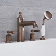Milano Washington - Traditional 4 Tap-Hole Deck Mounted Bath Shower Mixer Tap - Oil Rubbed Bronze
