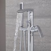 Milano Razor - Modern Floor Standing Bath Shower Mixer Tap including Hand Shower - Chrome