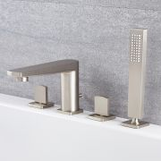 Milano Hunston - Modern 4 Tap-Hole Deck Mounted Bath Shower Mixer Tap - Brushed Nickel