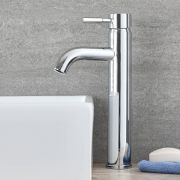 Milano Wick - Modern Deck Mounted High Rise Mono Basin Mixer Tap - Chrome