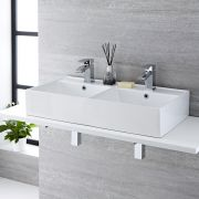 Milano Dalton - White Modern Rectangular Double Countertop Basin with 2 Deck Mounted Mixer Taps - 820mm x 420mm