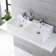 Milano Dalton - White Modern Rectangular Double Countertop Basin with 2 Mixer Taps - 820mm x 420mm (2 Tap-Holes)