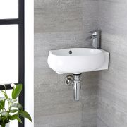 Milano Irwell - White Modern Round Wall Hung Corner Basin with Mixer Tap - 430mm x 280mm (1 Tap-Hole)