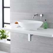 Milano Altham - Oval Countertop Basin with Mirage Wall Mounted Tap - 520mm x 320mm