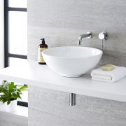 Milano Irwell - White Modern Round Countertop Basin with Wall Hung Mixer Tap - 400mm x 400mm