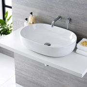 Milano Overton - White Modern Round Countertop Basin with Wall Hung Mixer Tap - 590mm x 410mm (No Tap-Holes)